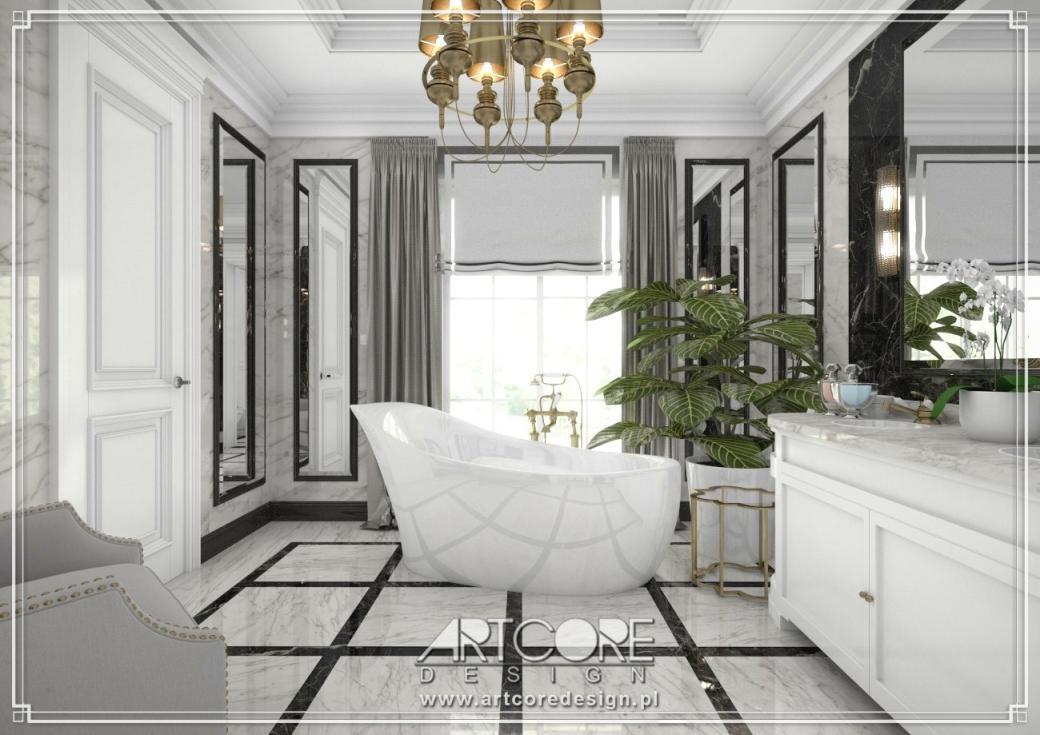 ekskluzywna łazienka projekt wnętrza z wanną wolnostojącą