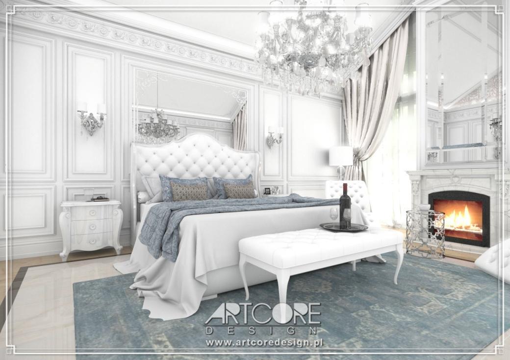 ekskluzywna sypialnia projekt wnętrza ze sztukaterią