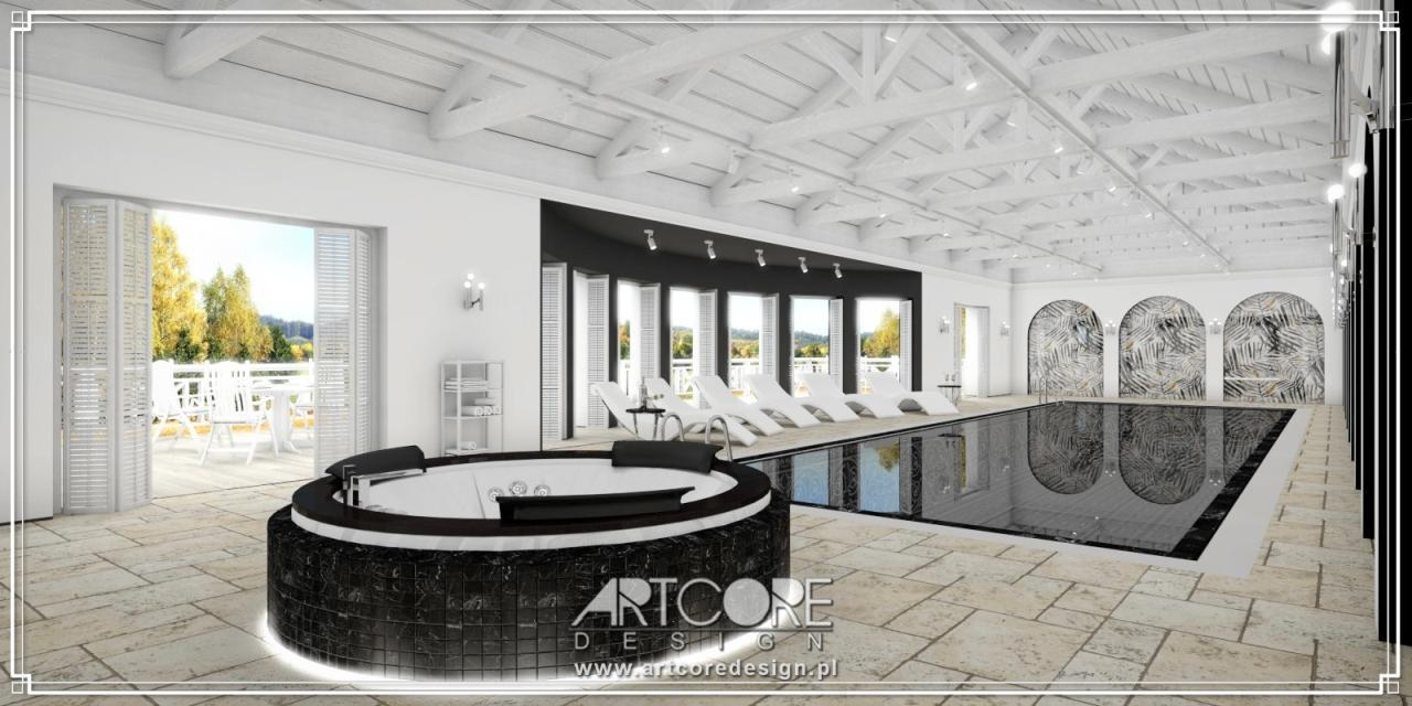 ekskluzywny projekt wnętrza basenu z jacuzzi