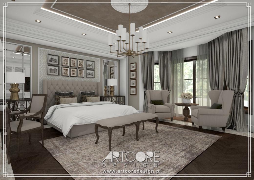 projekt wnętrza ekskluzywnej sypialni w stylu amerykańskim